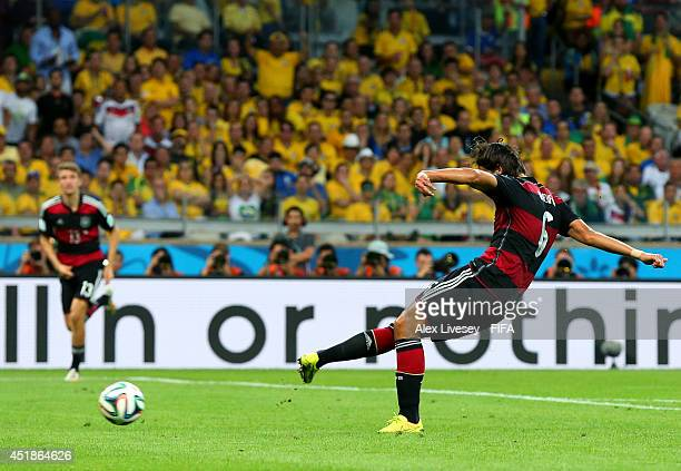 Sami Khedira of Germany scores his team's fifth goal during the 2014 FIFA World Cup Brazil Semi Final match between Brazil and Germany at Estadio...