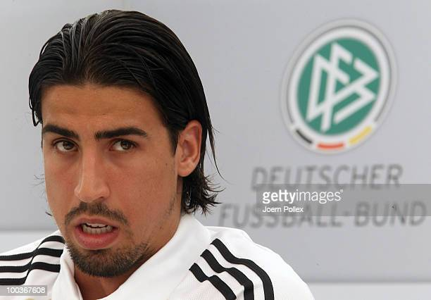 Sami Khedira of Germany speaks to the media during a press conference at Sportzone Rungg on May 24 2010 in Appiano sulla Strada del Vino Italy