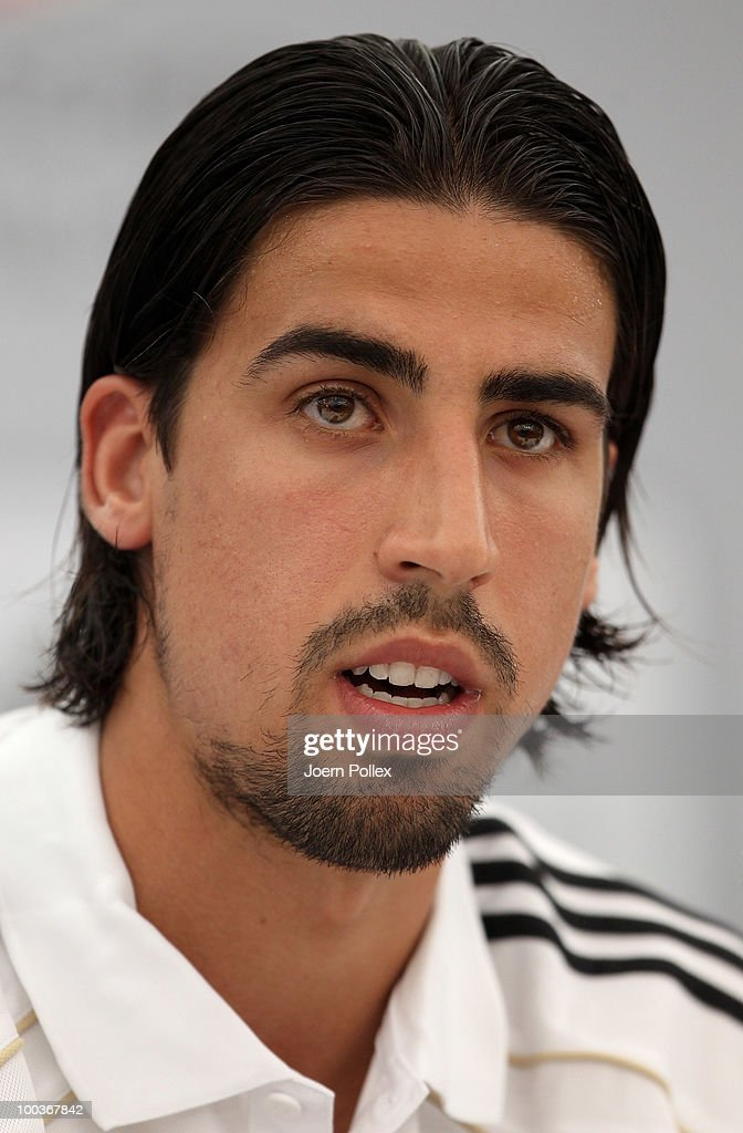 Sami Khedira of Germany speaks to the media during a press conference at Sportzone Rungg on May 24, 2010 in Appiano sulla Strada del Vino, Italy.