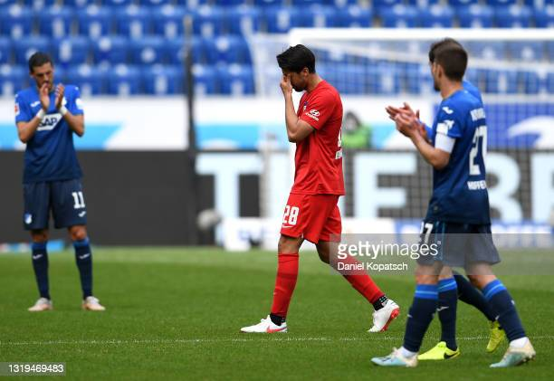 Sami Khedira of Hertha BSC reacts as he leaves the pitch during the Bundesliga match between TSG Hoffenheim and Hertha BSC at PreZero-Arena on May...
