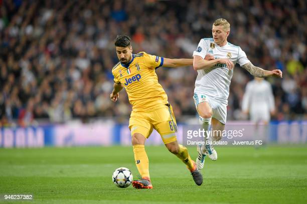 Sami Khedira of Juventus and Toni Kroos of Real Madrid in action during the Champions League match between Real Madrid and Juventus at Estadio...