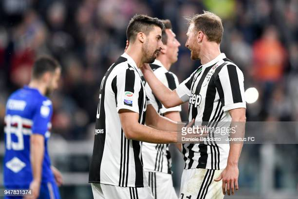 Sami Khedira of Juventus celebrates 30 goal with Benedikt Howedes during the serie A match between Juventus and UC Sampdoria at Allianz Stadium on...