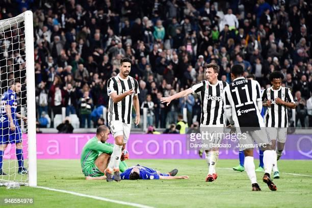 Sami Khedira of Juventus celebrates after his goal of 30 during the serie A match between Juventus and UC Sampdoria at Allianz Stadium on April 15...