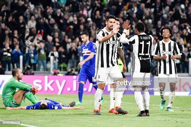 Sami Khedira of Juventus celebrates after his goal of 30 with teammate Douglas Costa during the serie A match between Juventus and UC Sampdoria at...