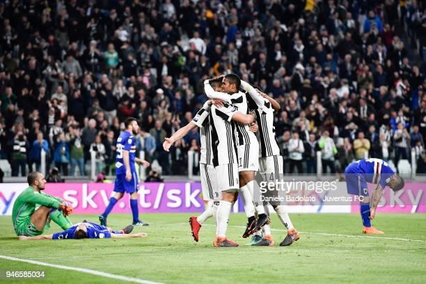 Sami Khedira of Juventus celebrates after his goal of 30 with teammates Douglas Costa and Blaise Matuidi during the serie A match between Juventus...