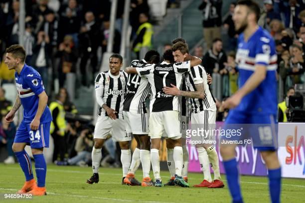 Sami Khedira of Juventus celebrates after his goal of 30 with teammates during the serie A match between Juventus and UC Sampdoria at Allianz Stadium...
