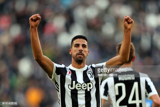 Sami Khedira of Juventus celebrates after scoring a goal during the serie A match between Juventus and US Sassuolo on February 4 2018 in Turin Italy