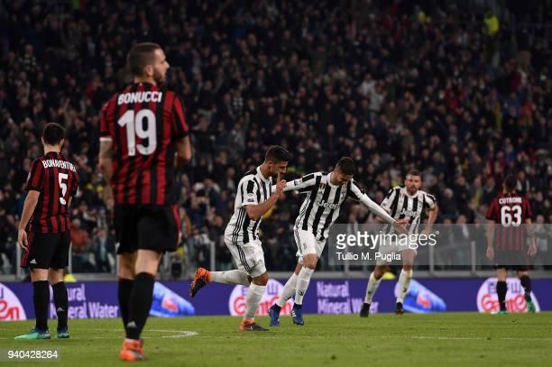Sami Khedira of Juventus celebrates after scoring his team's second goal during the serie A match between Juventus and AC Milan at Allianz Stadium on...