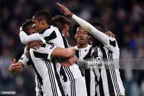 Sami Khedira of Juventus celebrates after scoring his team's third goal during the serie A match between Juventus and UC Sampdoria at Allianz Stadium...