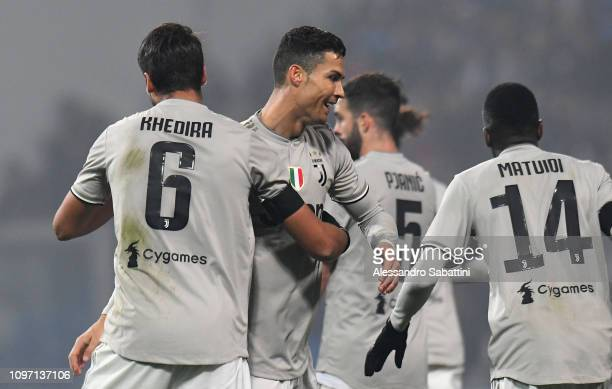 Sami Khedira of Juventus celebrates with Cristiano Ronaldo after scoring the opening goal during the Serie A match between US Sassuolo and Juventus...