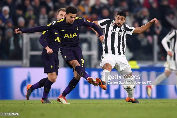Sami Khedira of Juventus competes for the ball with Dele Alli of Tottenham Hotspur FC during the UEFA Champions League Round of 16 First Leg match...