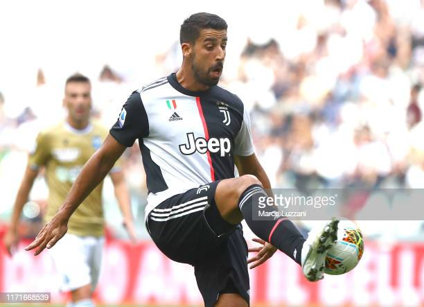 Sami Khedira of Juventus controls the ball during the Serie A match between Juventus and SPAL at Allianz Stadium on September 29, 2019 in Turin,...