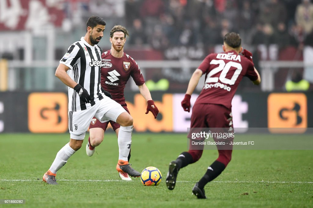 Sami Khedira of Juventus during the serie A match between Torino FC and Juventus at Stadio Olimpico di Torino on February 18, 2018 in Turin, Italy.