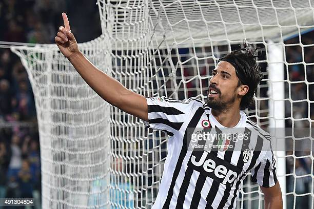 Sami Khedira of Juventus FC celebrates a goal during the Serie A match between Juventus FC and Bologna FC at Juventus Arena on October 4 2015 in...