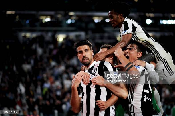 Sami Khedira of Juventus FC celebrates with his teammates after scoring a goal during the Serie A football match between Juventus FC and Bologna FC...