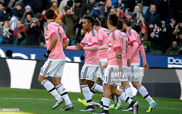 Sami Khedira of Juventus FC celebrates with team mates after scoring his team's second goal during the Serie A match between Udinese Calcio and...