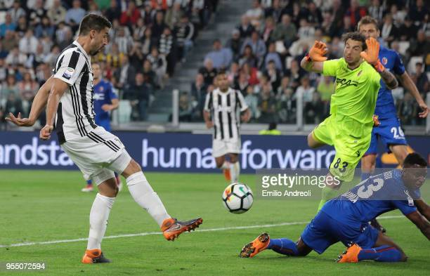 Sami Khedira of Juventus FC scores his goal during the serie A match between Juventus and Bologna FC at Allianz Stadium on May 5 2018 in Turin Italy
