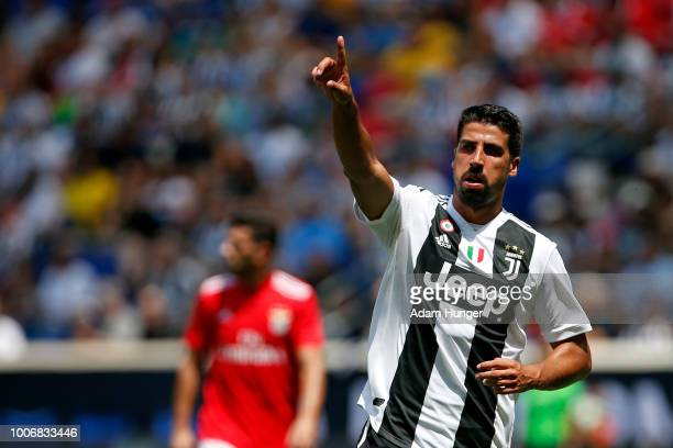 Sami Khedira of Juventus gestures against Benfica during the International Champions Cup 2018 match between Benfica and Juventus at Red Bull Arena on...
