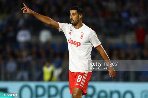 Sami Khedira of Juventus gestures during the Serie A match between Brescia Calcio and Juventus at Stadio Mario Rigamonti on September 24, 2019 in...