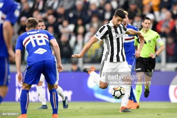 Sami Khedira of Juventus in action during the serie A match between Juventus and UC Sampdoria at Allianz Stadium on April 15 2018 in Turin Italy