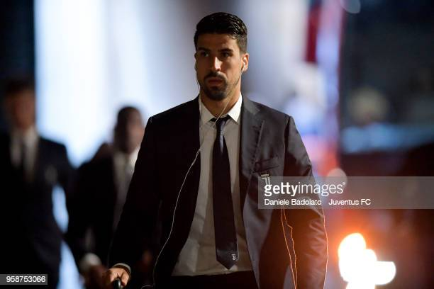 Sami Khedira of Juventus in action during the serie A match between AS Roma and Juventus at Stadio Olimpico on May 13 2018 in Rome Italy