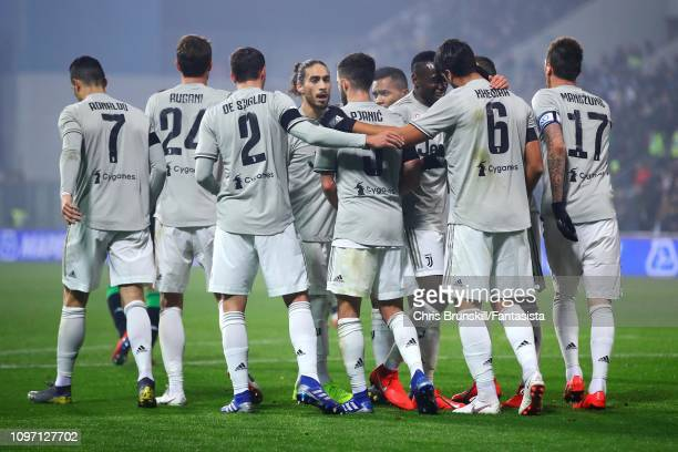 Sami Khedira of Juventus is congratulated by his teammates after scoring the opening goal during the Serie A match between US Sassuolo and Juventus...