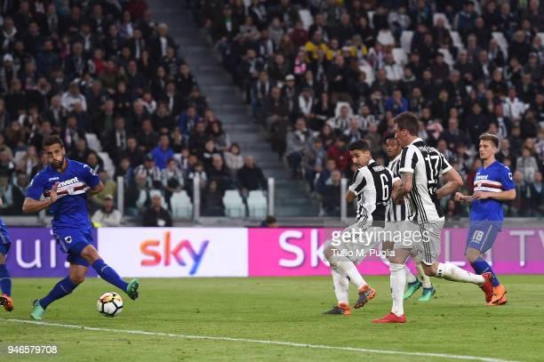 Sami Khedira of Juventus scores his team's third goal during the serie A match between Juventus and UC Sampdoria at Allianz Stadium on April 15 2018...