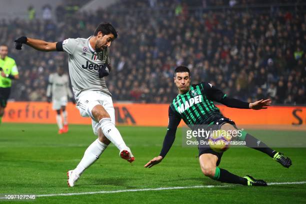 Sami Khedira of Juventus scores the opening goal during the Serie A match between US Sassuolo and Juventus at Mapei Stadium Citta' del Tricolore on...