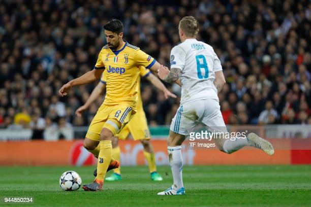 Sami Khedira of Juventus Turin and Toni Kroos of Real Madrid battle for the ball during the UEFA Champions League quarter final second leg match...