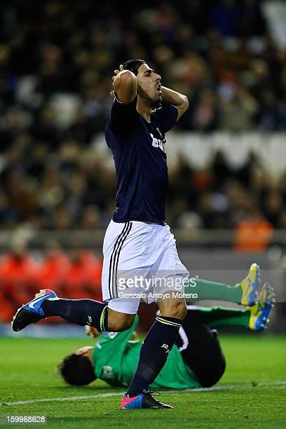 Sami Khedira of Real Madrid CF reacts after failing to score a goal during the La Liga match between Valencia CF and Real Madrid CF at Estadio...
