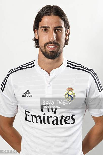 Sami Khedira of Real Madrid poses during a portrait session at Valdebebas training ground on September 1 2014 in Madrid Spain
