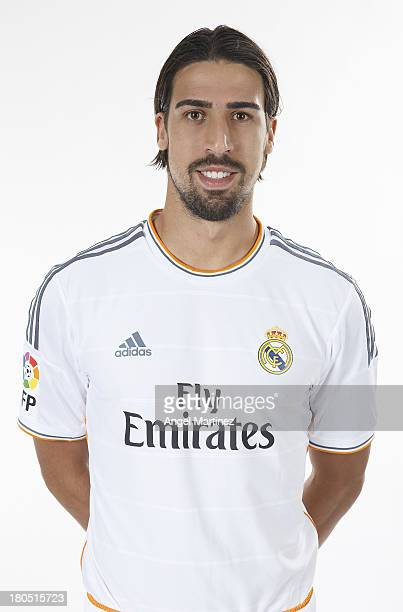 Sami Khedira of Real Madrid poses during the official team photo session at Valdebebas training ground on September 13 2013 in Madrid Spain