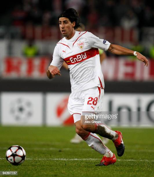 Sami Khedira of Stuttgart runs with the ball during the UEFA Champions League Group G match between VfB Stuttgart and Unirea Urziceni at the...