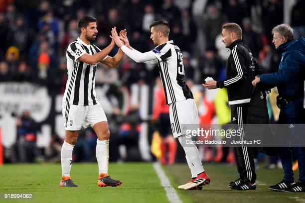 Sami Khedira substituted by Rodrigo Bentancur during the UEFA Champions League Round of 16 First Leg match between Juventus and Tottenham Hotspur at...
