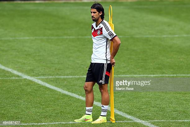 Sami Khedria looks on during the German National team training session at StMartin training ground on May 30 2014 in St Martin in Passeier Italy