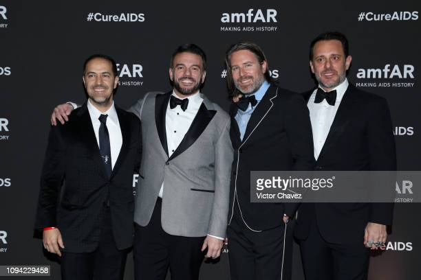 Sami Mayek Eric Muscatell Rodman Primack and Rudy Weissenberg pose during the amfAR gala dinner at the house of collector and museum patron Eugenio...
