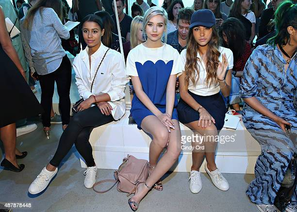 Sami Miro Amanda Steele and Madison Beer attend the Lacoste Spring 2016 fashion show during New York Fashion Week at Spring Studios on September 12...