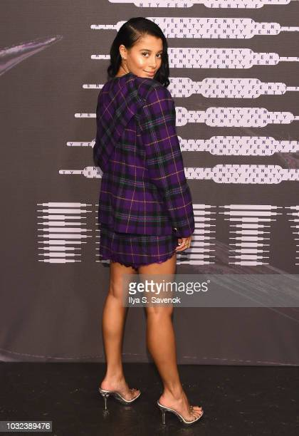 Sami Miro arrives at the Savage X Fenty Fall/Winter 2018 fashion show during NYFW at the Brooklyn Navy Yard on September 12 2018 in Brooklyn NY