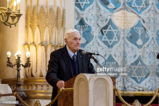 Sami Modiano survivor the death camps of Auschwitz speaks to a delegation of 800 young people from more than 50 cities in Russia as part of the...