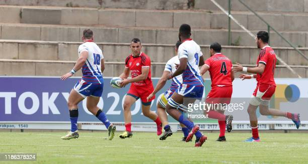 Sami Nensi of Tunisia during the 2019 Rugby Africa Mens 7s match between Tunisia and Namibia at the Bosman Stadium Brakpan on November 08 2019 in...