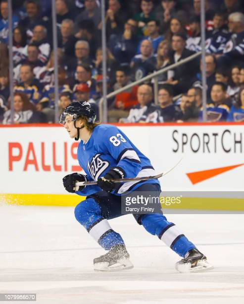 Sami Niku of the Winnipeg Jets keeps an eye on the play during first period action against the St Louis Blues at the Bell MTS Place on December 7...