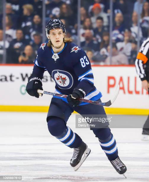 Sami Niku of the Winnipeg Jets keeps an eye on the play during first period action against the Anaheim Ducks at the Bell MTS Place on January 13 2019...