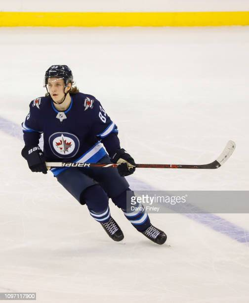 Sami Niku of the Winnipeg Jets keeps an eye on the play during second period action against the Vegas Golden Knights at the Bell MTS Place on January...