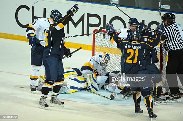 Sami Ryhanen of Espoo Blues celebrates a goal during the IIHF Champions Hockey League match between Espoo Blues and HV71 Jonkoping on October 29,...