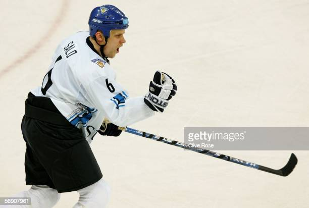 Sami Salo of Finland celebrates scoring the second goal in the first period during the quarter final of the men's ice hockey match between Finland...