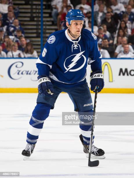 Sami Salo of the Tampa Bay Lightning skates against the Montreal Canadiens in Game Two of the First Round of the 2014 Stanley Cup Playoffs at the...