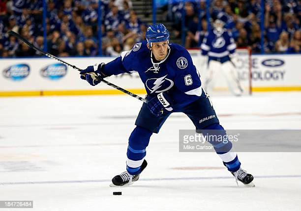 Sami Salo of the Tampa Bay Lightning winds up to shoot against the Florida Panthers at the Tampa Bay Times Forum on October 10 2013 in Tampa Florida