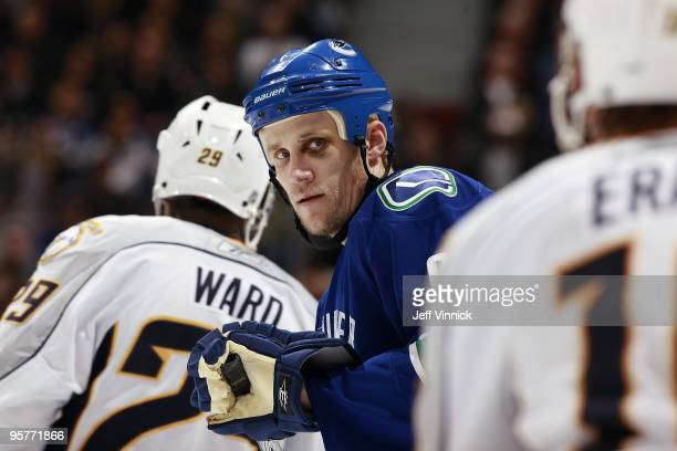 Sami Salo of the Vancouver Canucks looks to the bench during their game against the Nashville Predators at General Motors Place on January 11 2010 in...