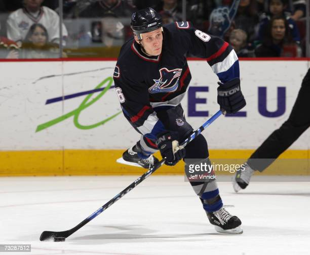 Sami Salo of the Vancouver Canucks makes a pass during their game against the Atlanta Thrashers at General Motors Place on February 10 2007 in...
