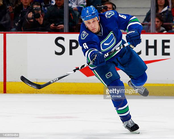 Sami Salo of the Vancouver Canucks passes the puck up ice during their NHL game against the Buffalo Sabres at Rogers Arena March 3 2012 in Vancouver...